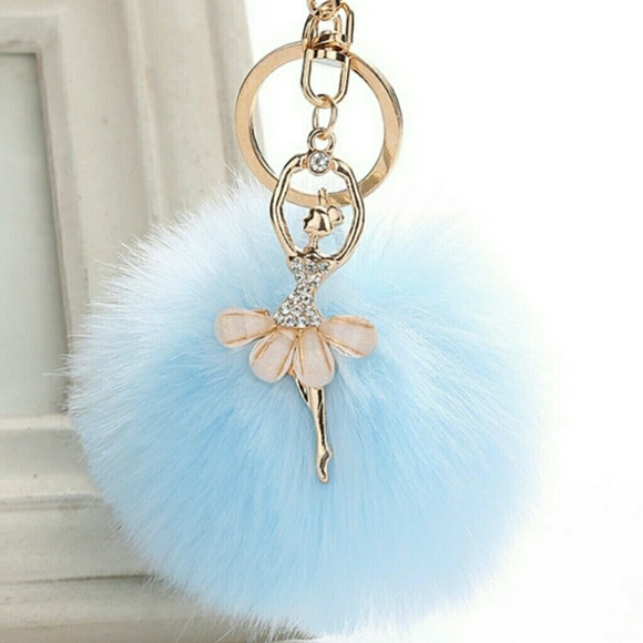Furball Keychain with Glittery Mickey Pom Keychain Give a Gift of Friendship